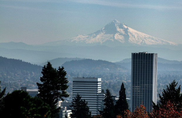 Fig. 1 - View of Mount Hood from the Portland Japanese Garden